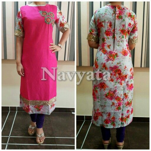 Floral print kurti with handwork in the front. For further details contact us on + 919892398900, + 919930413660
