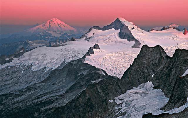 Spectacular snowy vistas command the horizon in this shot of Eldorado Peak at sunrise in Washington's North Cascades National Park.