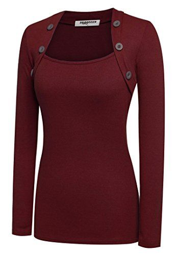 Zeagoo Women Long Sleeve Button Decor Slim Casual Basic T-shirt Blouse (Wine Red, Small) Zeagoo http://www.amazon.com/dp/B018KCL8L4/ref=cm_sw_r_pi_dp_iL22wb1DQ4AE7