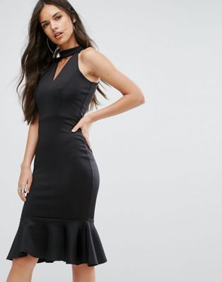 Outrageous Fortune High Neck Midi Dress with Pephem