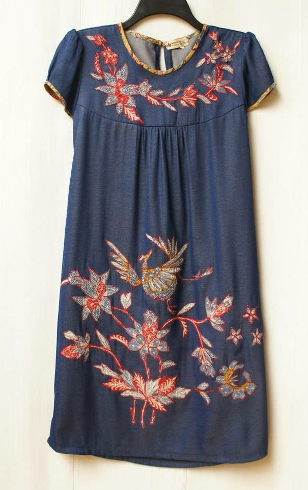 batik dress - blue
