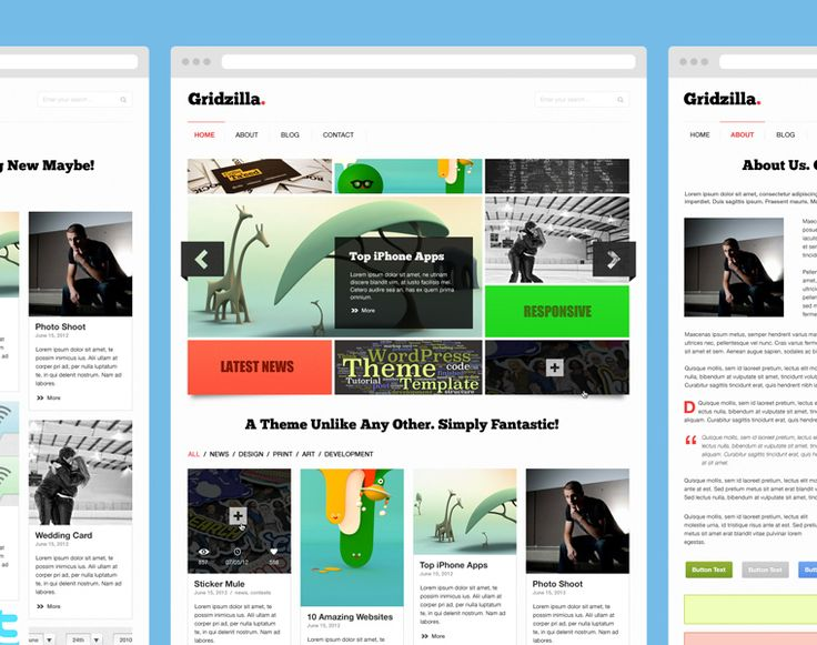 Gridzilla psd theme freebie with interior pages