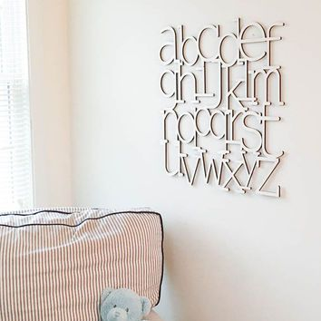 Alphabet Wall Art Natural wood finish laser cut  I love this! @noelelise @emily_xo I'd love this for my birthday!