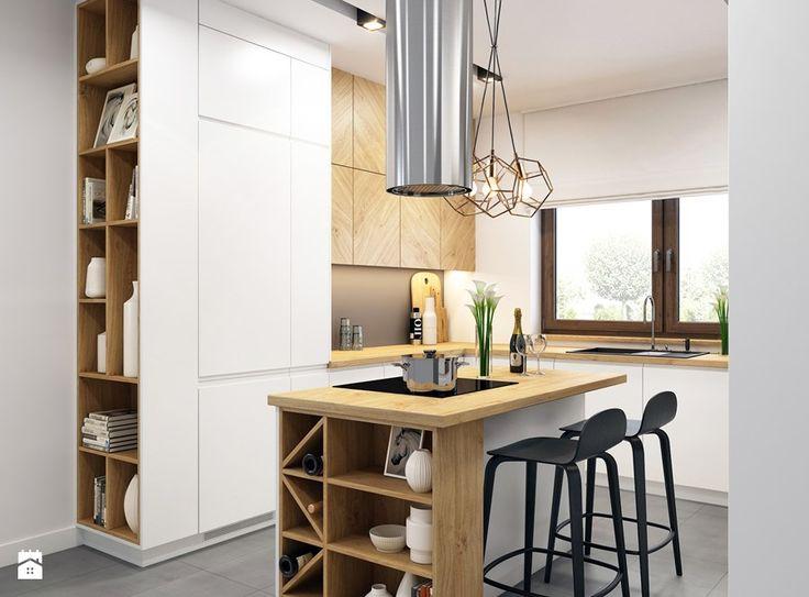 Aranżacje wnętrz - Kuchnia: Kuchnia z drewnianymi akcentami - WOSMEBL Rzeszów Meble na wymiar. Przeglądaj, dodawaj i zapisuj najlepsze zdjęcia, pomysły i inspiracje designerskie. W bazie mamy już prawie milion fotografii!