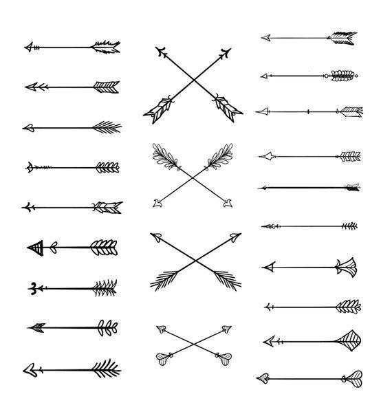 Doodle Tribal flèches Clipart : 23 vecteur-flèche – main doodle clipart, clipart dessinés, tribal, vecteur-flèche, éléments bricolage