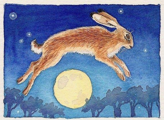 Magic Hare archival print by daniellebarlowart on Etsy, £7.00