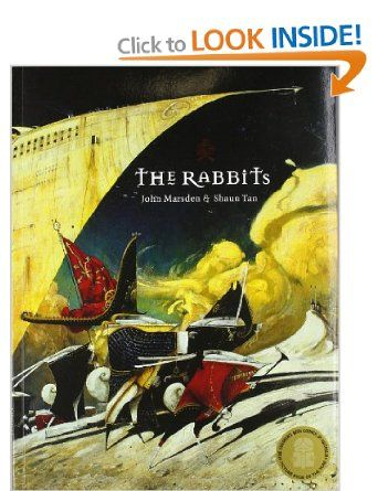 The Rabbits (illustrated by Shaun Tan). Tells the story of the colonisation of Australia and the oppression of the aboriginal peoples (numbats) by the British (rabbits). Fantastic metaphor and imagery.