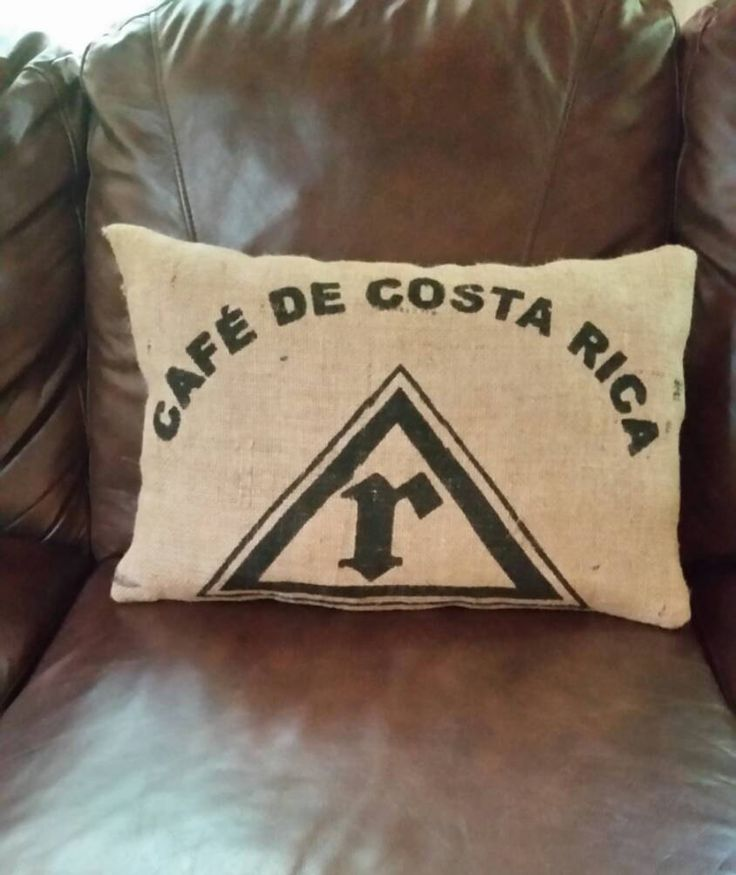 Reclaimed burlap coffee bean bag Costa Rica pillow by InteriorLandscapes on Etsy