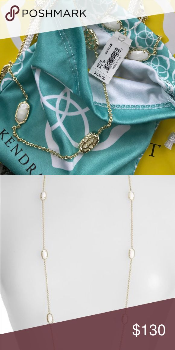 NWT Kendra Scott Kellie Long Wht/Gld Necklace Brand new with bag, jewelry bag and tissue paper and tags bought from Kendra Scott store Kendra Scott Jewelry Necklaces
