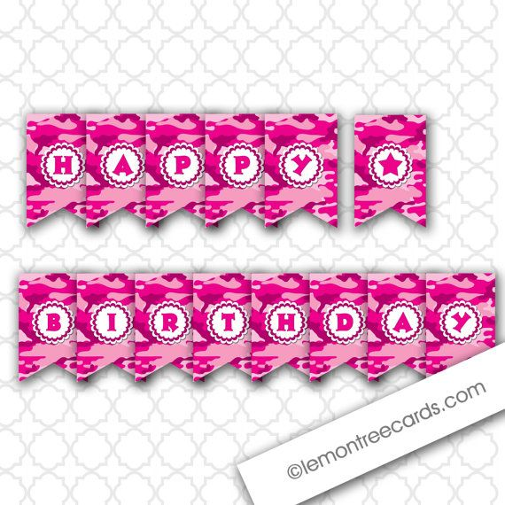 Pink Camo Birthday Party Banner hot pink by lemontreecards on Etsy