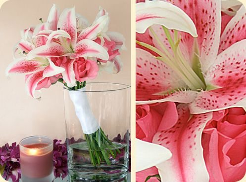 This sweet and simple bouquet combines stargazer lilies and pink roses finished off with a white satin wrap.