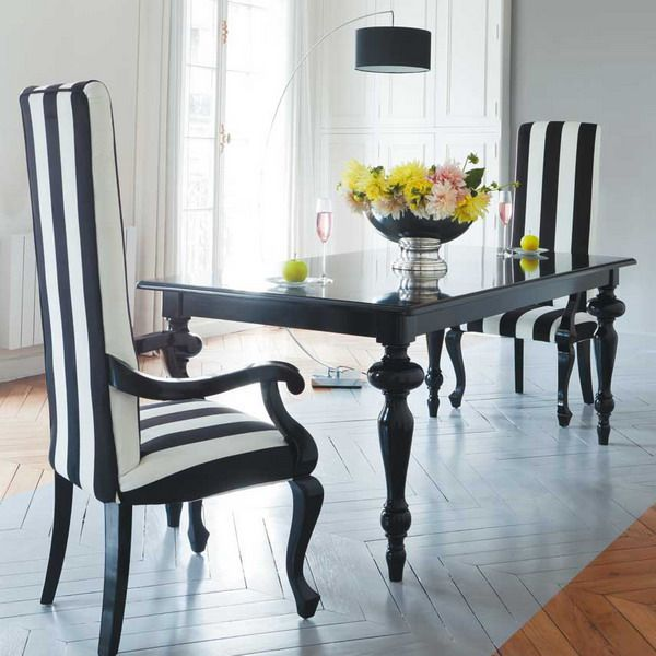 21 Cool Black And White Traditional Dining Areas With Minimalist Table Chair Flower Ornament