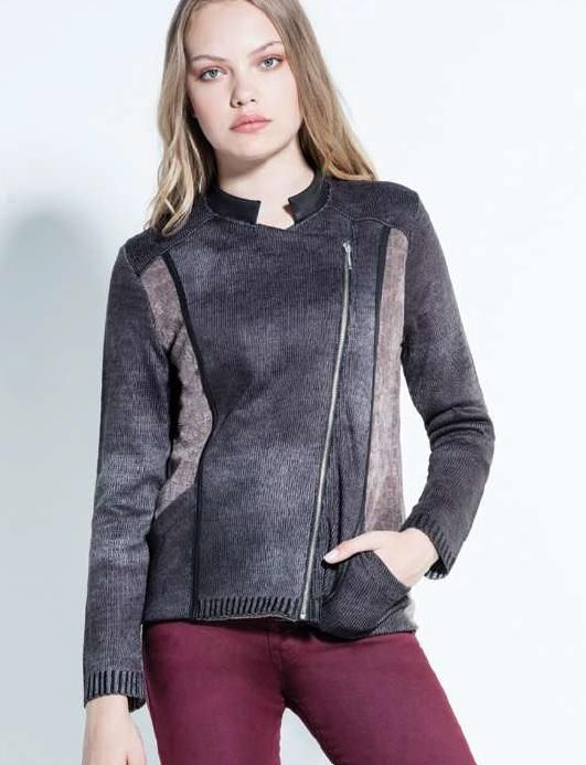 Kalisson Knitted Biker in Donkey Brown with Taupe chenille side Panels/Collar