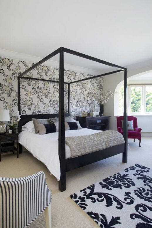 Beautiful #bedroom design by Sarah Assael, expert member of The DecorCafe Network #contemporary #four-poster #bed, #black and #white rug