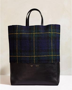 CELINE CABAS BI-COLOR IN TARTAN TWEED AND LAMBSKIN MIDNIGHT | Forqua (フォルカ)アーカイブ