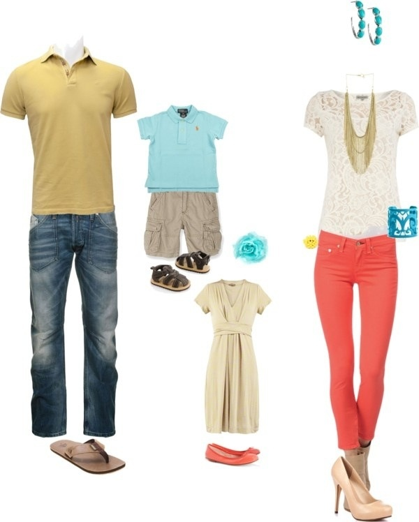 Summer family photo outfit, love the corals and blues Find this Pin and more on What to Wear - SPRING by Donna McMurry. What to Wear family photos: navy & coral Mix solids and patterns, brights and darks. The idea is to have complimentary colors without being exact duplicates of one another.