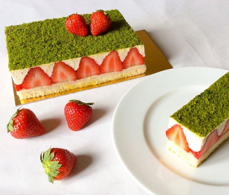 Fraisier fraises crème vanille génoise pistache fraise dessert