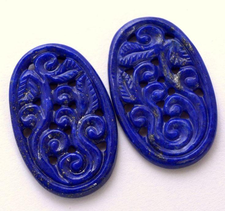 42.09 Cts Natural Lapis Lazuli Handmade Carving Pair 30x20 mm Loose Gemstones #sbigems