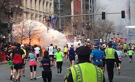 The second bomb going off at the Boston Marathon 2013