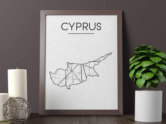 Cyprus Map, Cyprus Wall Art, Cyprus Art, Cyprus Poster