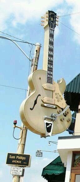 Sun record company; I've been there. Looks like a Gibson ES175 owned by Scotty Moore