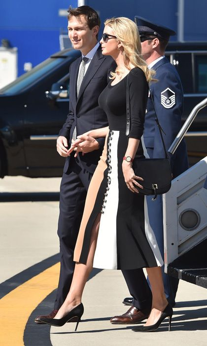 Ivanka showed off her fashion credentials arriving to Charleston  International Airport wearing a trumpet flared skirt