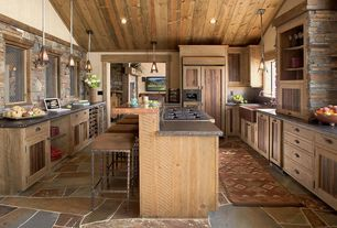 Rustic Kitchen with European Cabinets, Flat panel cabinets, two dishwashers, High ceiling, Farmhouse Sink, Slate, U-shaped