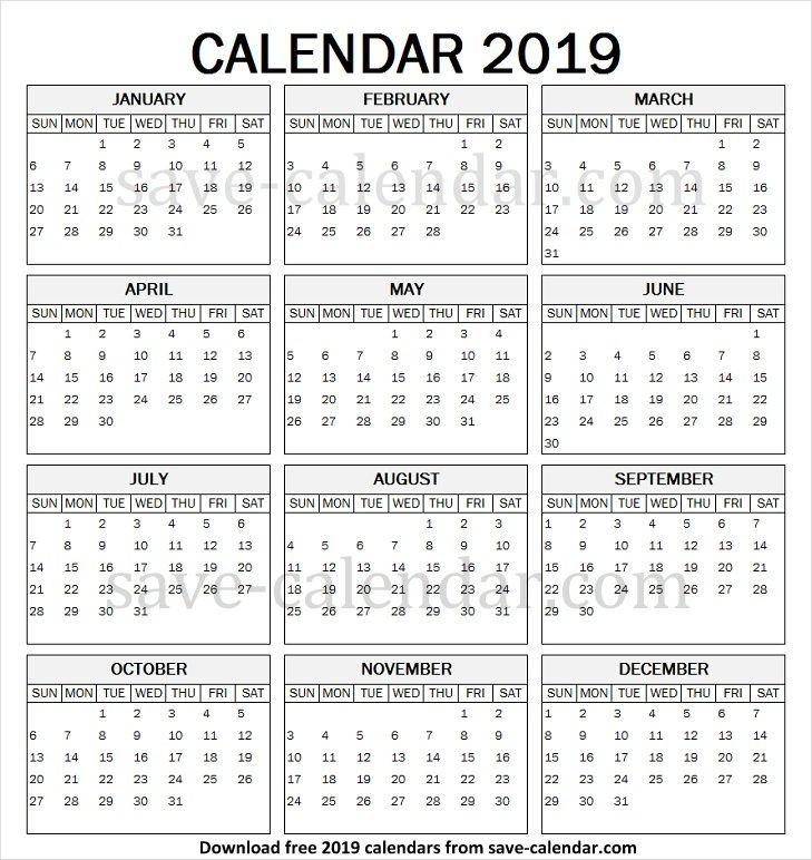 Year Calendar 2019 Printable Pdf Print Calendar Calendar Printables Blank Calendar