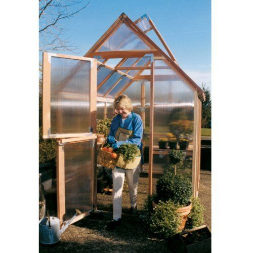 Sunshine Mt. Hood 6 x 8 Foot Greenhouse by Mallory. $2099.99. Twin wall polycarbonate panels protects your plants. Clear, natural, and sturdy redwood frame. Large Dutch doors and base made with recycled plastic. Features 2 vents with automatic vent openers. Narrow enough to fit in a limited space. Additional FeaturesDoor measures 28W x 78H inchesPeak height measures 8.4 feetPanels come preassembledDoes not take long to assembleIncludes printed instructions and an assembly v...