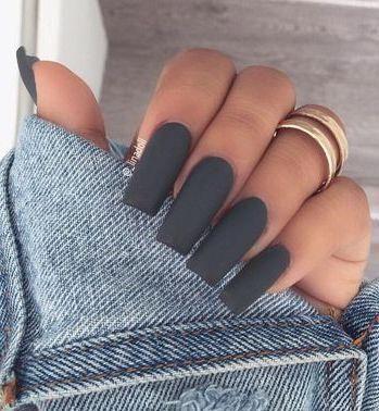 Sehr niedlicher grauer matter Nagellack #nailscoffin   – nails coffin – #Coffin #Grauer #matter #Nagellack