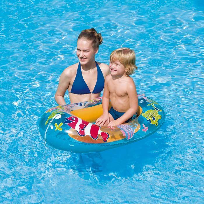 Initiez votre enfant aux joies de l'eau grâce à ce bateau gonflable pour enfant. Une partie du fond est transparent pour voir sous l'eau ! #bateau #gonflable #intex #enfant #mer #lac #piscine #jeu #rivière #raviday