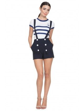 Women's Daisy - Nautical Shorts With Removable Suspender