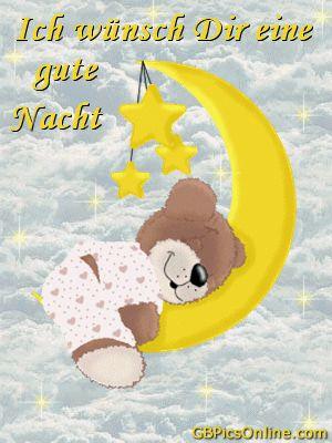 Gute Nacht bild #21027 – Ich wünsch Dir eine gute Nacht. – comic, teddybär, mond, sterne, gif – Bekommt die besten Bilder für euer Gästebuch in de…