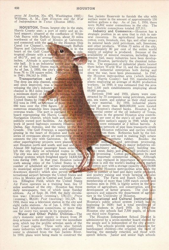 Little Mouse illustration print on  Dictionary Book Page by PRRINT, $7.99
