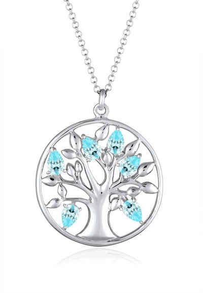 Elli Halskette »Lebensbaum Zirkonia 925 Sterling Silber«