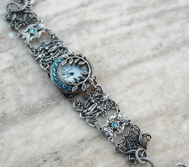 Women Silver watches Ladies Silver Watch bracelet Aquamarine bracelet watch Blue watch Gothic watch womens watch Victorian Gothic jewelry by Aranwen on Etsy https://www.etsy.com/listing/158512478/women-silver-watches-ladies-silver-watch