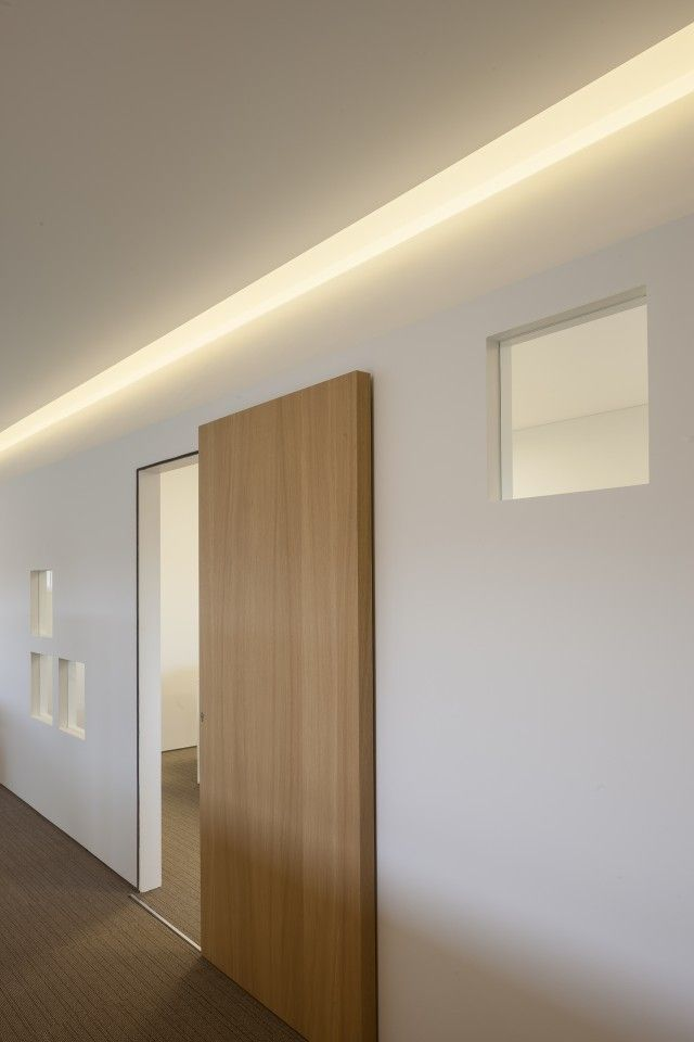 Fantastic Office Room Design with Neutral Color: Stunning Wooden Slide Door Hidden Lighting Office Square