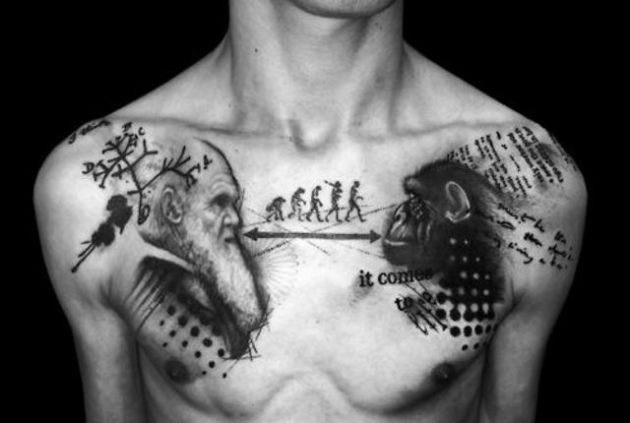 Awesome Darwin Human Science Tattoo On Chest For Men