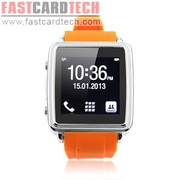 FC-L1 Smartphone Smart Bluetooth Watch Android 2.3~4.0 IOS MTK6225 1.6 Inch with Call SMS Sync Function Orange
