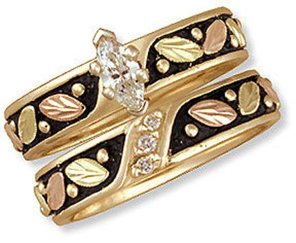 ladies black hills gold antique wedding set with engagement ring
