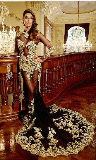 Gorgeous black and gold mermaid evening dress | You can find this at =>…