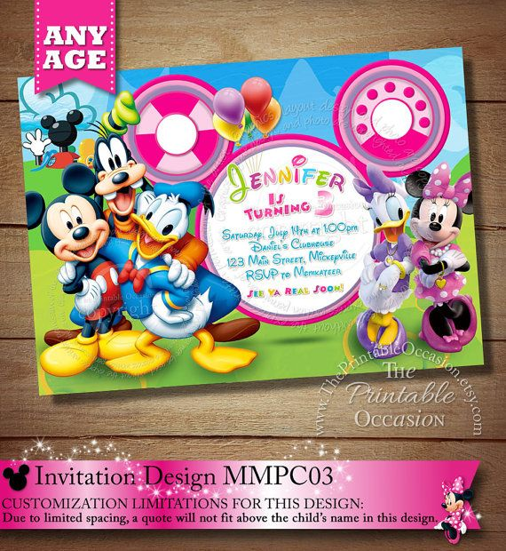 Mickey Mouse & Minnie Mouse Clubhouse Invitation, Clubhouse Photo Invitation, Clubhouse Birthday Invitation, Clubhouse Printables, Minnie Mouse Birthday Party Invitation