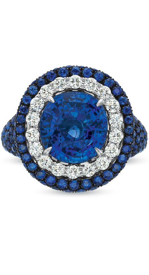{Reserve 18K White Gold Sapphire & Diamond Ring} via HydeParkJewelers