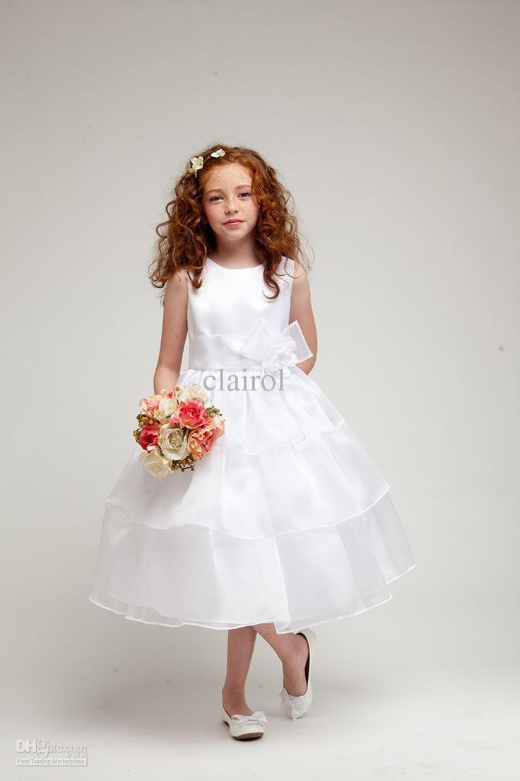Wholesale White ivory Bateau Ball gown layers Spaghetti Flower girl dresses, Free shipping, $54.88/Piece | DHgate Mobile
