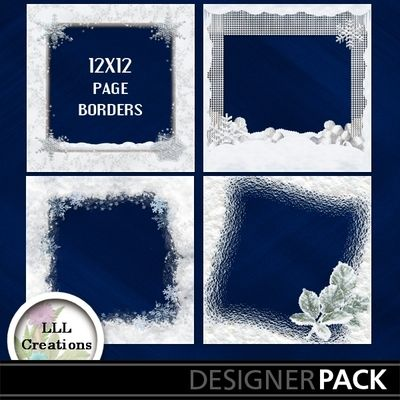 Snow Scene Page Borders by LLL Creations. #scrapbooking #digitalscrapbooking #snow #winter #LLLCreations