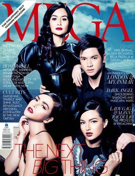 Kapuso cover are Kris Bernal, Alden Richards, Bela Padilla, and Sarah Lahbati on on June 2012 Mega Magazine.