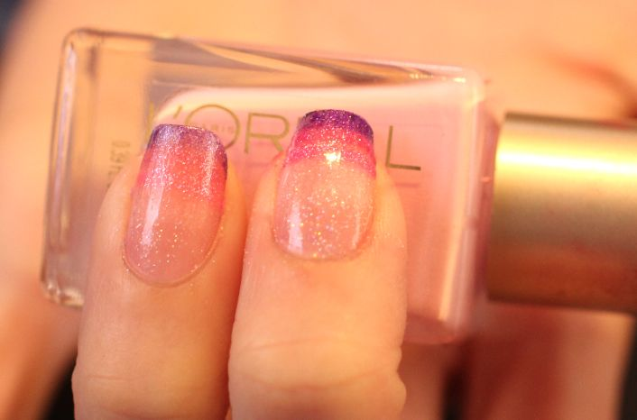 Purple pink ombre nails