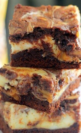 Milky Way Caramel Cheesecake Brownies + recipe