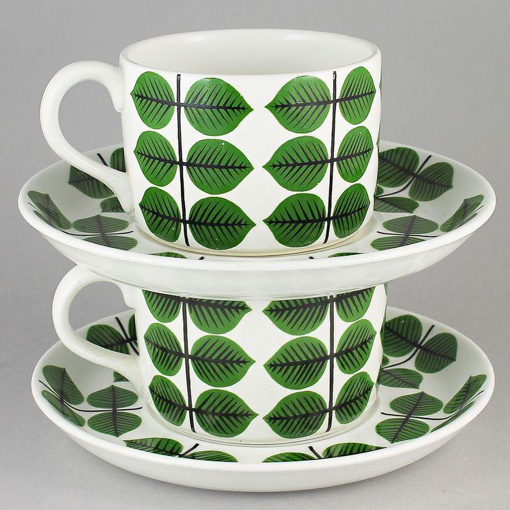 Stig Lindberg (Bersa 1961) Two Iconic Cups and Saucers