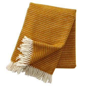 Ralph wool throw - mustard - Klippan Yllefabrik